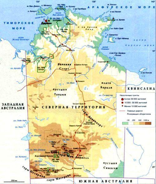 Северная территория на карте, Австралия.