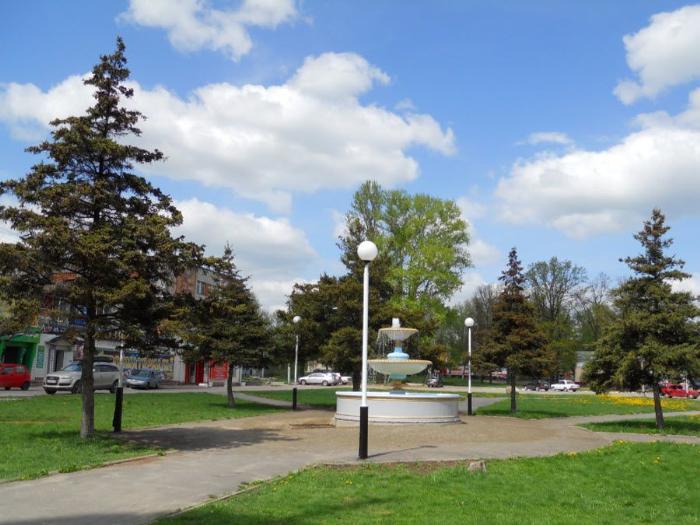 Фото вид на фонтан в центре города Дятьково