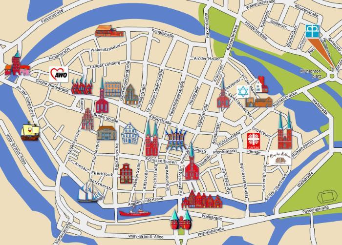 Достопримечательности Любека на карте
