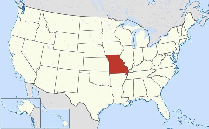 Штат Миссури на карте США