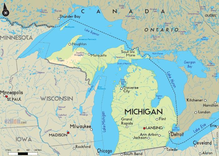 карта штата Мичиган