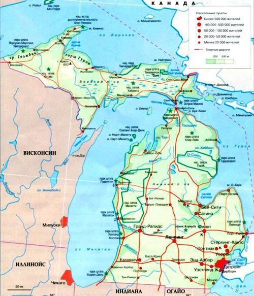 Штат Мичиган на географической карте, США.