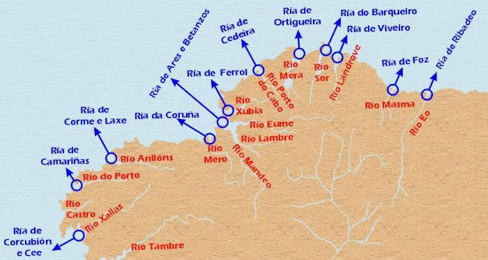 Карта побережья Риас-Альтас
