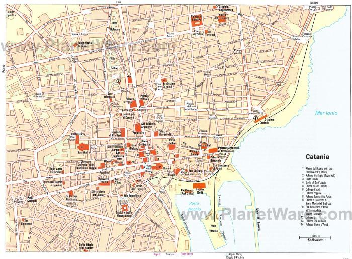 Катания - карта Катании с достопримечательностями