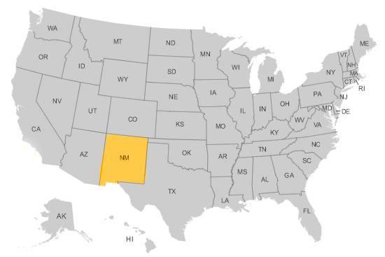 Нью-Мексико на карте США