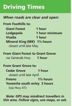 Расчётное время, за которое можно доехать до разных районов парков Секвойя и Кингз-Каньон на автомобиле.