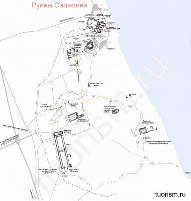 карта, Саламин, Кипр, город Саламин, план, археологический парк
