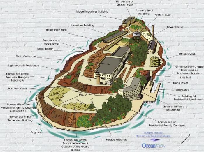 Схема острова и тюрьмы Алькатрас, Сан-Франциско