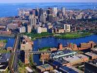 Вид города Бостона сверху