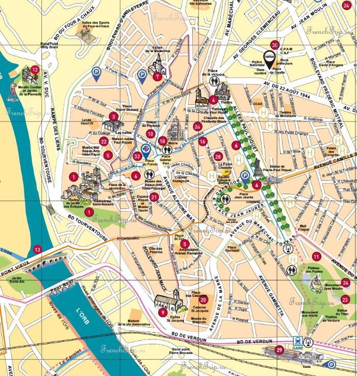 Достопримечательности Безье на карте города - туристическая карта Безье, Франция - путеводитель по городу Безье, что посмотреть в Безье