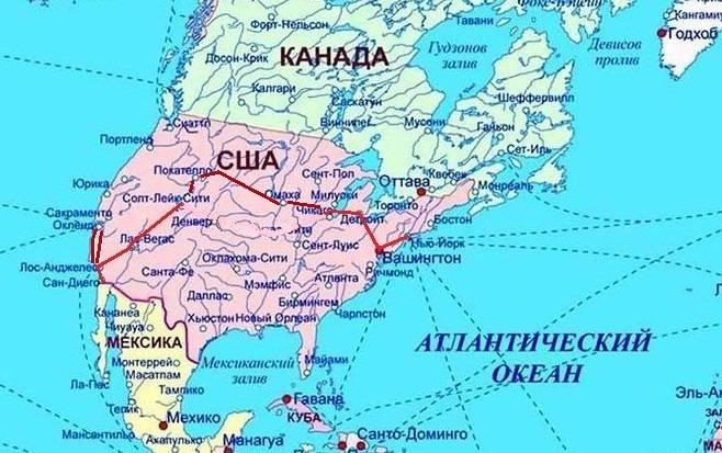 Америка карта
