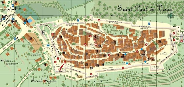 Saint Paul de Vence (Сен-Поль-де-Ванс), Прованс, Франция - туристическая карта города