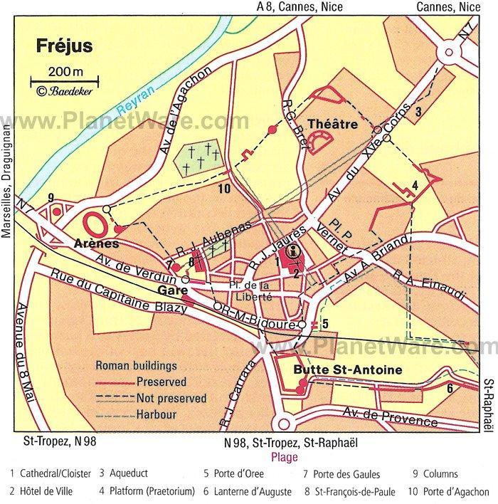 Туристическая карта Фрежюса с отмеченными достопримечательностями, отелями и ресторанами