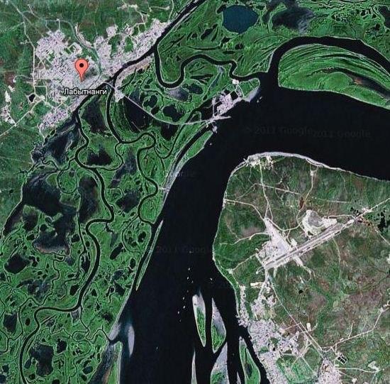 Лабытнанги на спутниковом снимке
