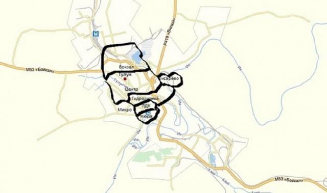 Карта Тулуна