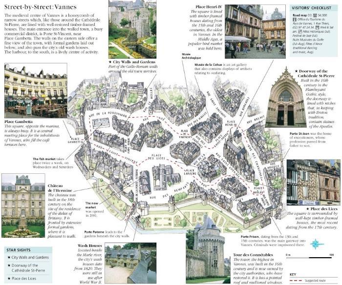 Пешеходный туристический маршрут по городу Ванн с отмеченными достопримечательностями и описаниями на карте - Vannes (Ванн), Бретань, Франция - достопримечательности, путеводитель, туристический маршрут по городу с картой. Что посмотреть, как добраться, расписание