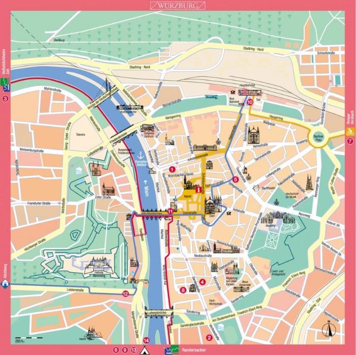 Достопримечательности Вюрцбурга на карте