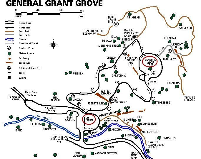 General Grant Tree (Дерево Генерал Грант) и трейл на карте, парк Кингз-Каньон, Калифорния, США.