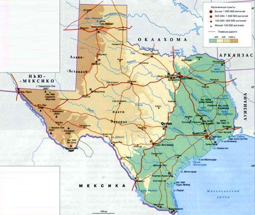 Техас на географической карте, США, Северная Америка.