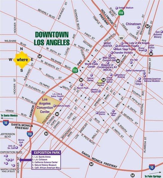 Карта даунтауна Лос-Анджелеса