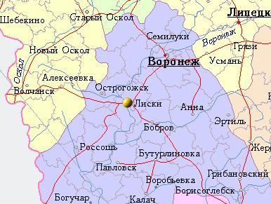 Лиски на карте