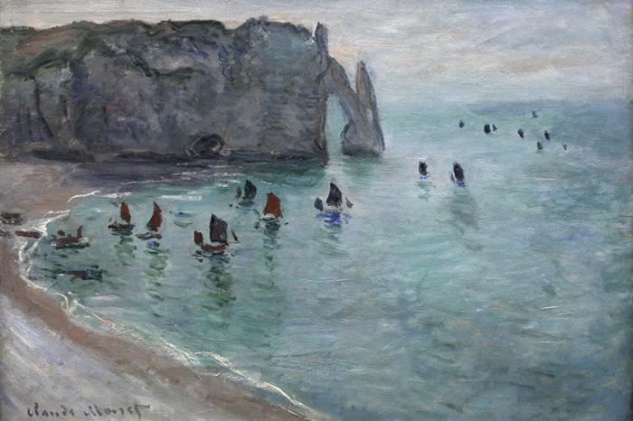 Планы налето: Франция постопам импрессионистов. Клод Моне «Этрета, Порт Д'Аваль. Рыбацкие Лодки Покидают Гавань», 1885