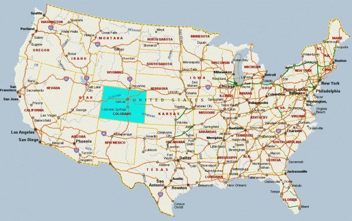 штат колорадо на карте