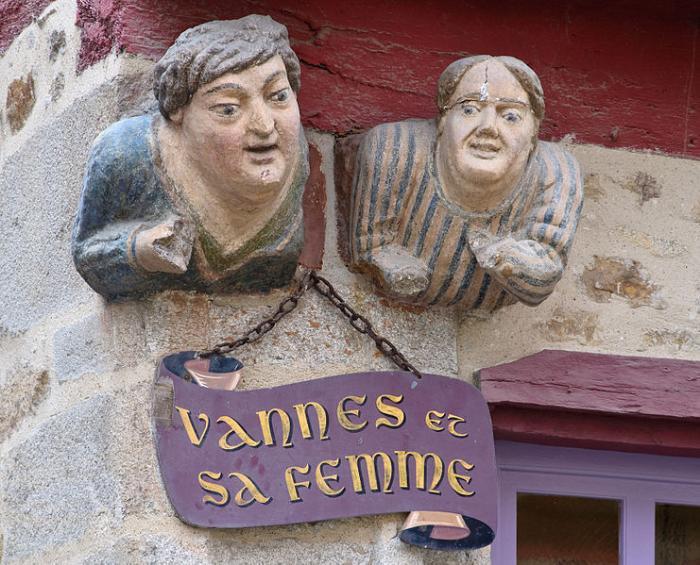 Vannes et sa femme Vannes (Ванн), Бретань, Франция - достопримечательности, путеводитель, туристический маршрут по городу с картой