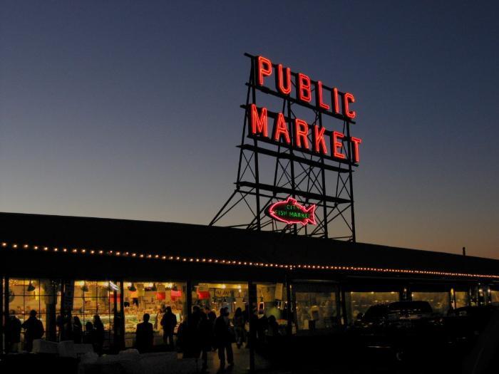 Сиэтл старейший рынок Пайк-Плейс