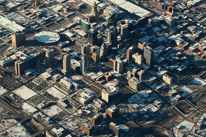 вид сверху на Канзас Сити