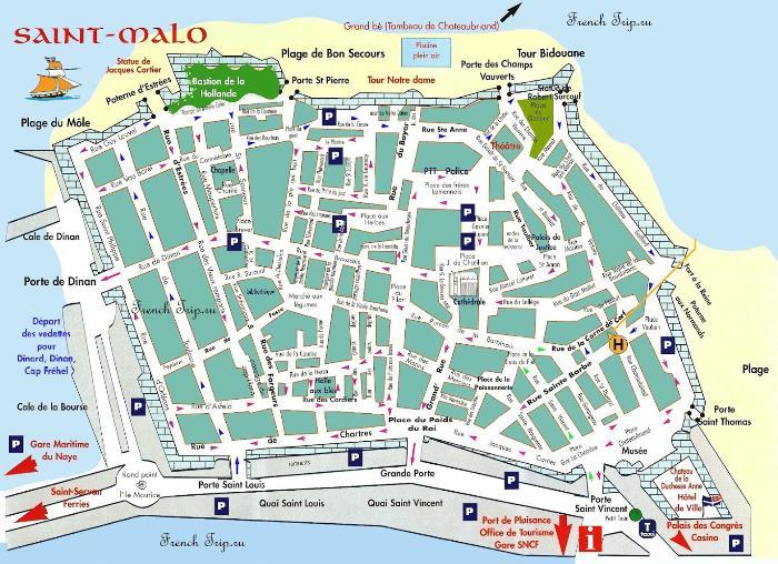 Карта города Сен-Мало с отмеченными достопримечательностями - Saint-Malo (Сен-Мало), Бретань, Франция - достопримечательности, маршрут по городу с картой, путеводитель по городу. Что посмотреть в Сен-Мало и Бретани, Бретань, Бретань Франция, достопримечательности Бретани, города Бретани, путеводитель по Бретани, Бретань путеводитель, Франция, города Франции, путеводитель по Франции, что посмотреть во Франции, Франция путеводитель, франция путеводитель скачать бесплатно, туристический маршруты с картой скачать бесплатно