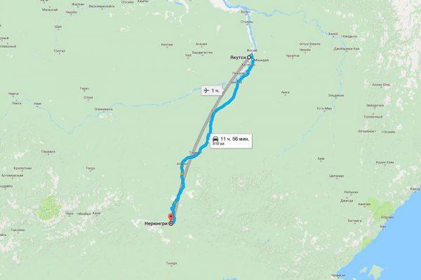 Расстояние Якутск - Нерюнгри