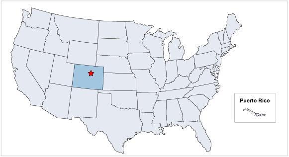 Штат Колорадо на карте США